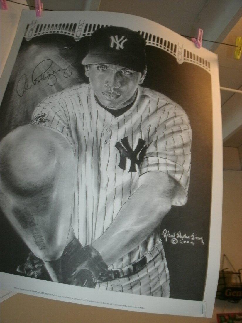 AlexRodriquez NY YankeeSigned Lithograph Robert Stephen