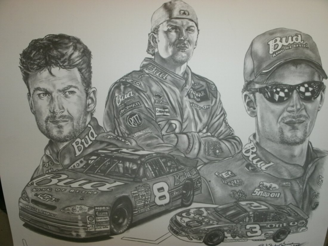 Images Of Dale Earnhardt Jr. # 8 Signed Lithograph by R