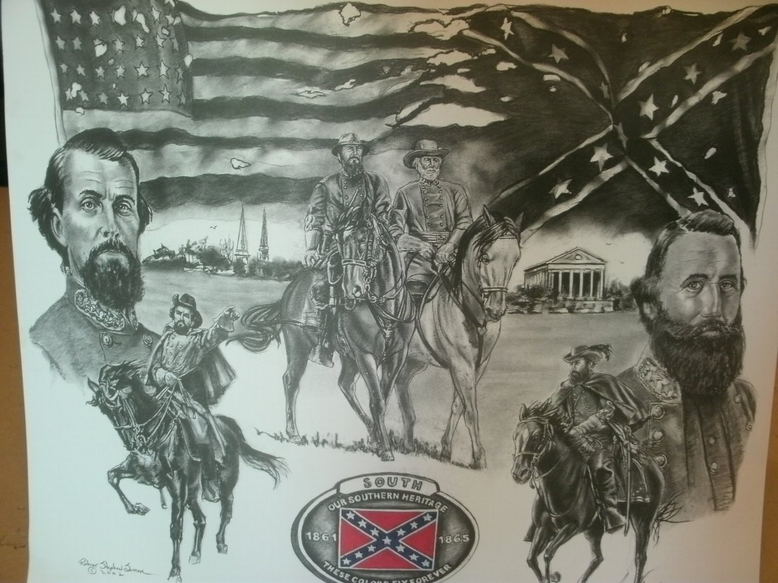 Confederate Civil War Generals1861 Signed Lithograph by