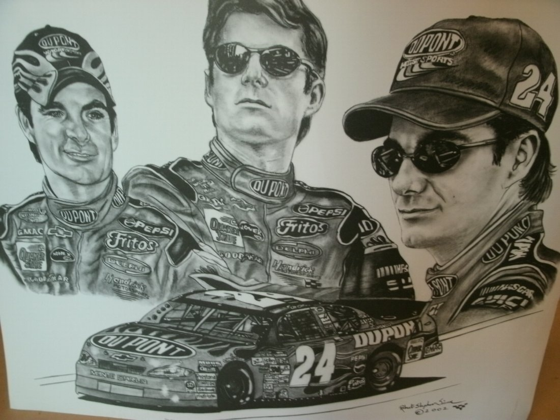 Jeff Gordon Nascar Driver # 24 Signed Lithograph by Rob