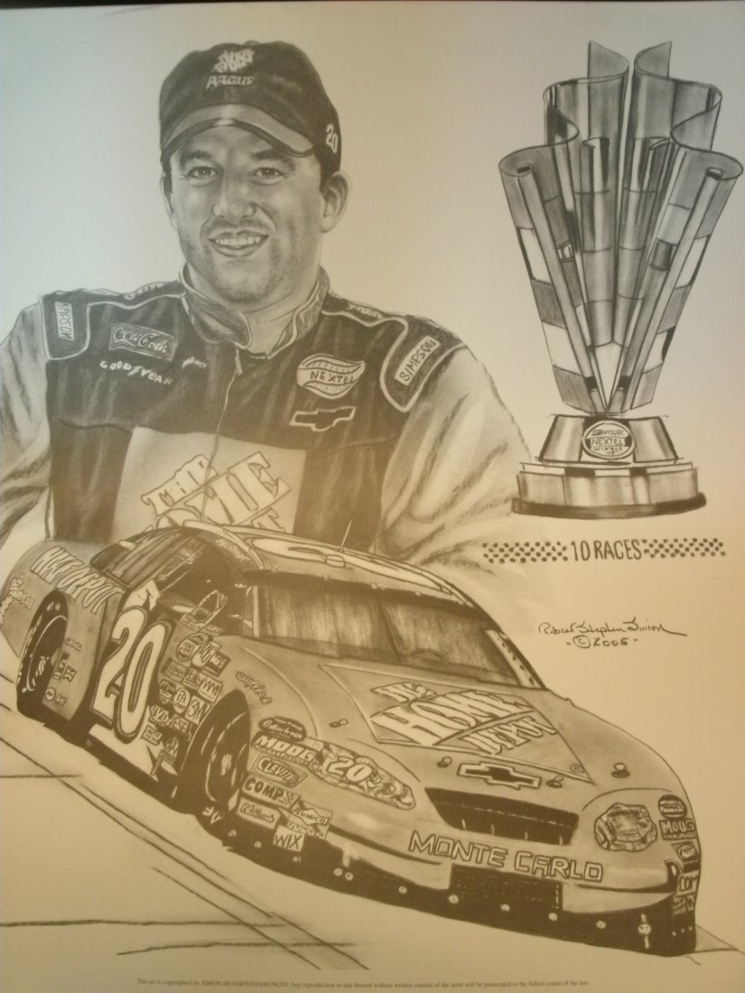 Tony Stewart Nascar Racer # 20 Signed Lithograph by R