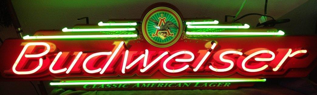 Vintage Budweiser Neon Beer Sign Lighted Large