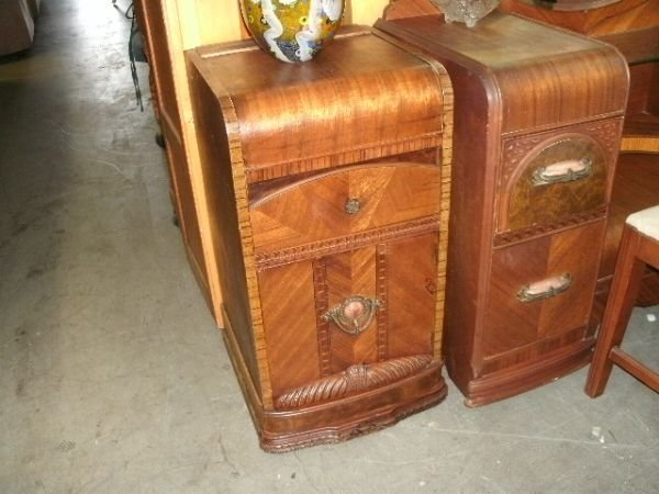 Antique Deco Style, Waterfall, Antique Nightstand