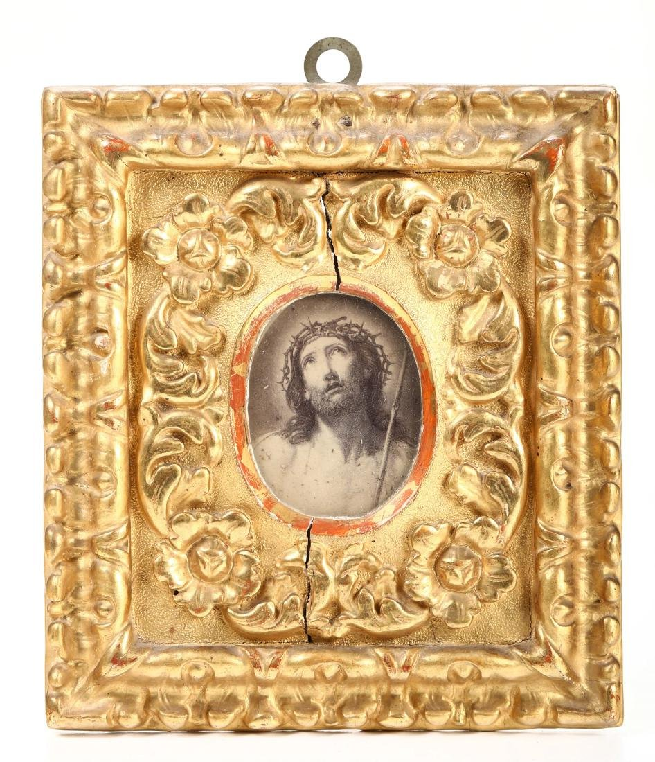 Small frame in carved and gilded wood. Italy, 17th-18th
