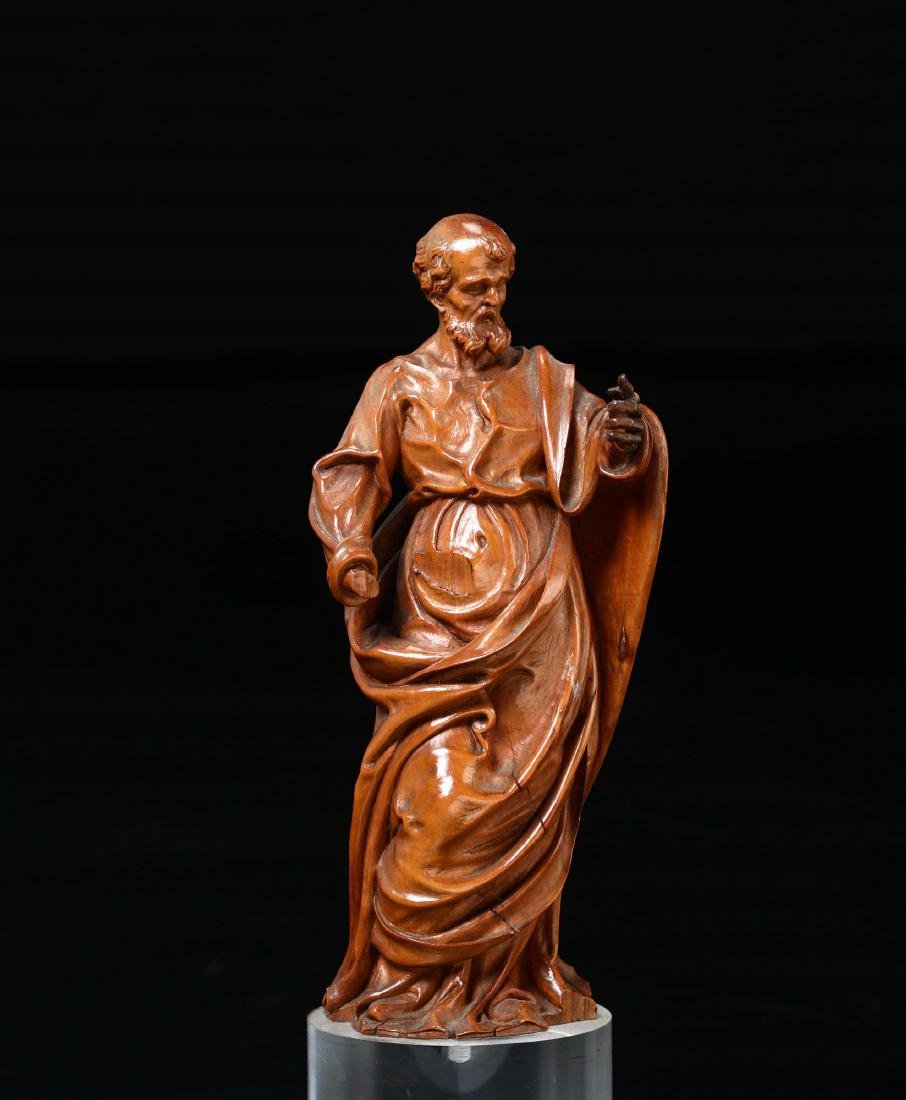 St. Peter, in carved boxwood.  Baroque sculptor active