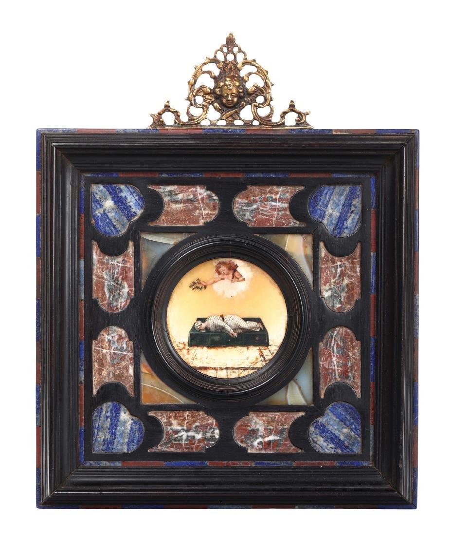 Frame made of ebony and precious stones, with a