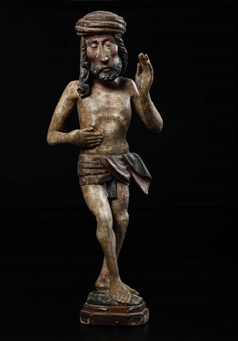 Polychrome wooden sculpture depicting Christ in the act - 5