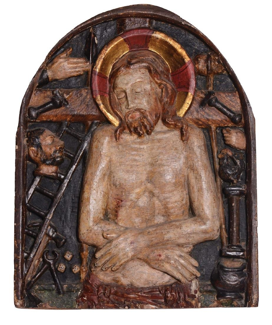 Deposed Christ. Curved high relief in polychrome wood.