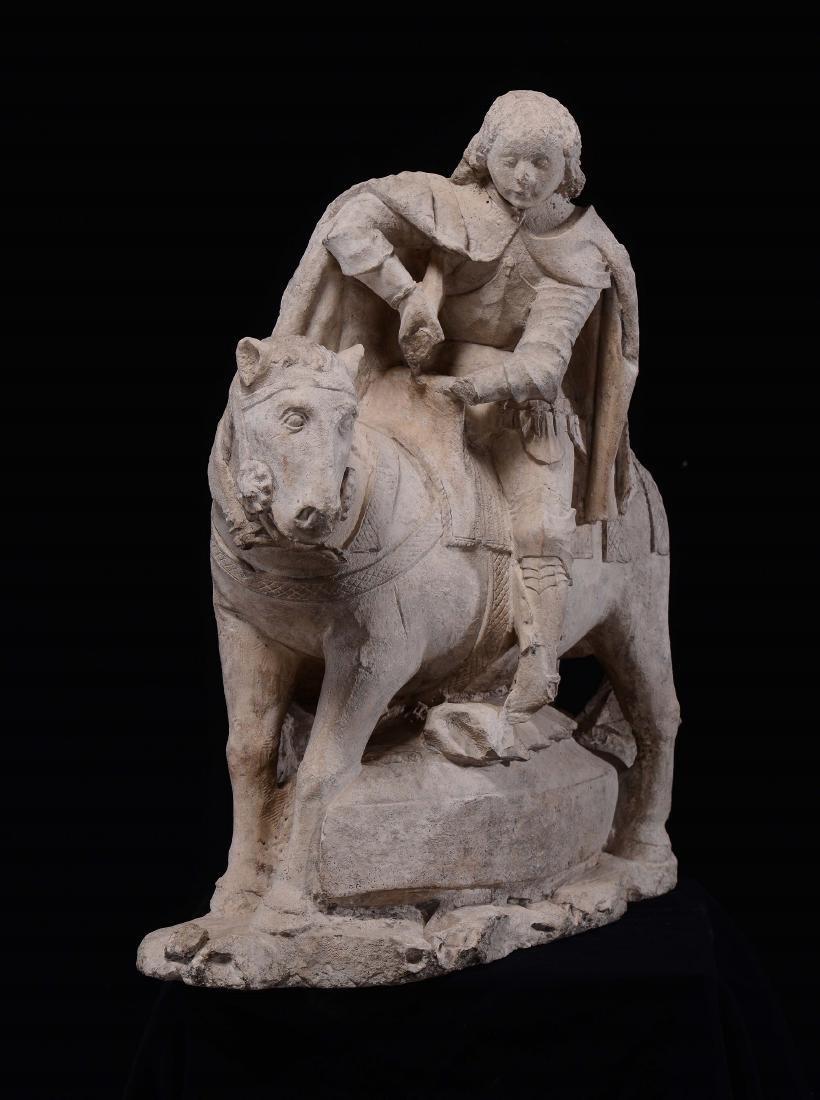 Limestone sculpture representing Saint George, France,