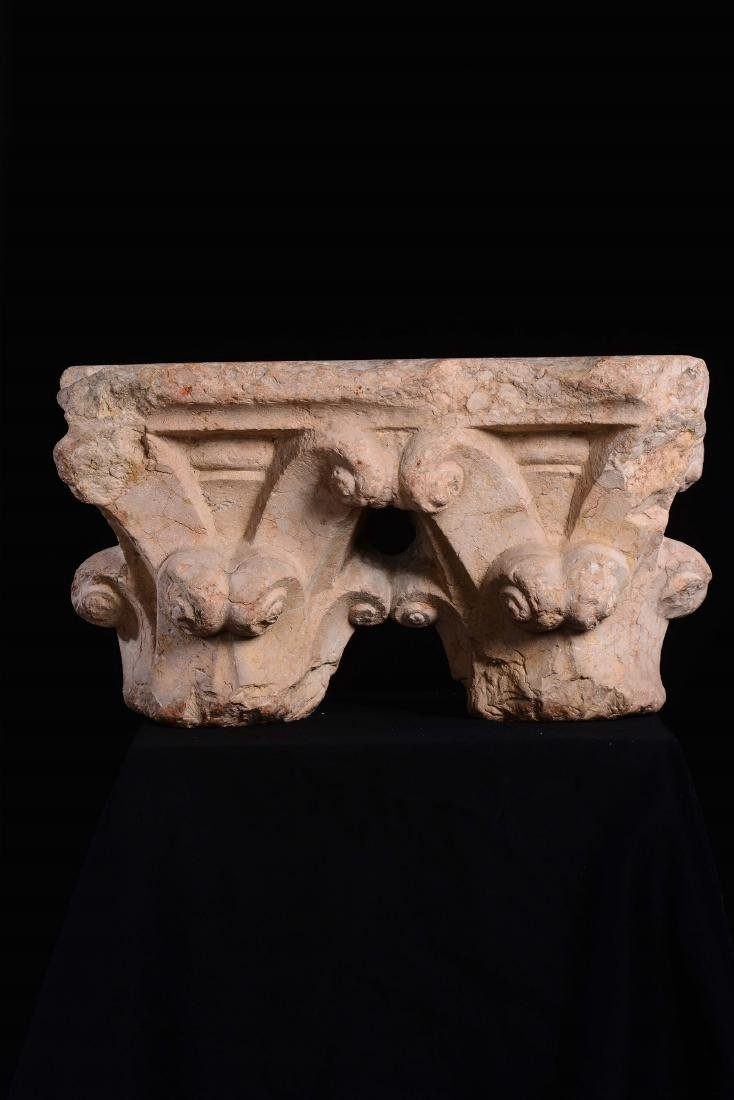 Pair of marble capitals. Gothic art from the 14th-15th