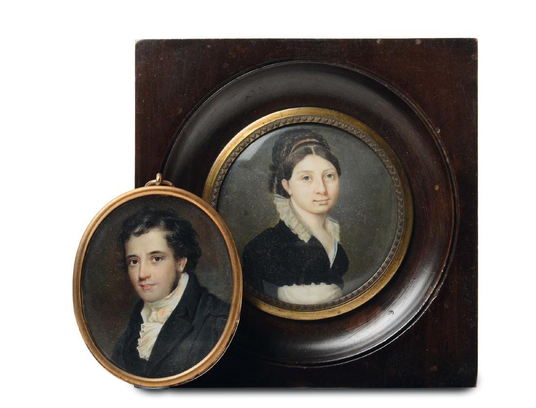 Lotto di due miniature, XIX secolo, Gentildonna