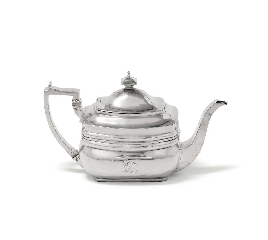 A silver teapot, London 1810, silversmiths Peter and
