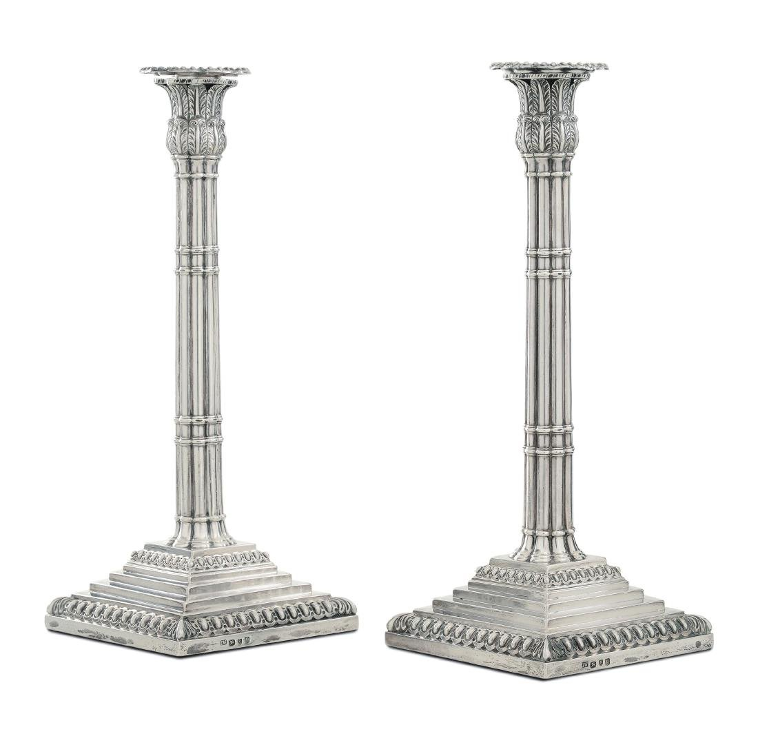 A pair of silver candlesticks, London 1870, silversmith