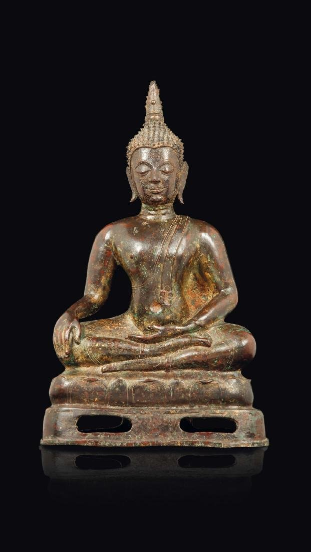 A bronze figure of seated Buddha, Thailand, 17th