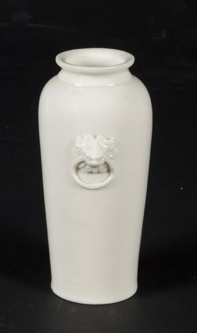 A Blanc de Chine Dehua vase with mask handles, China, - 2