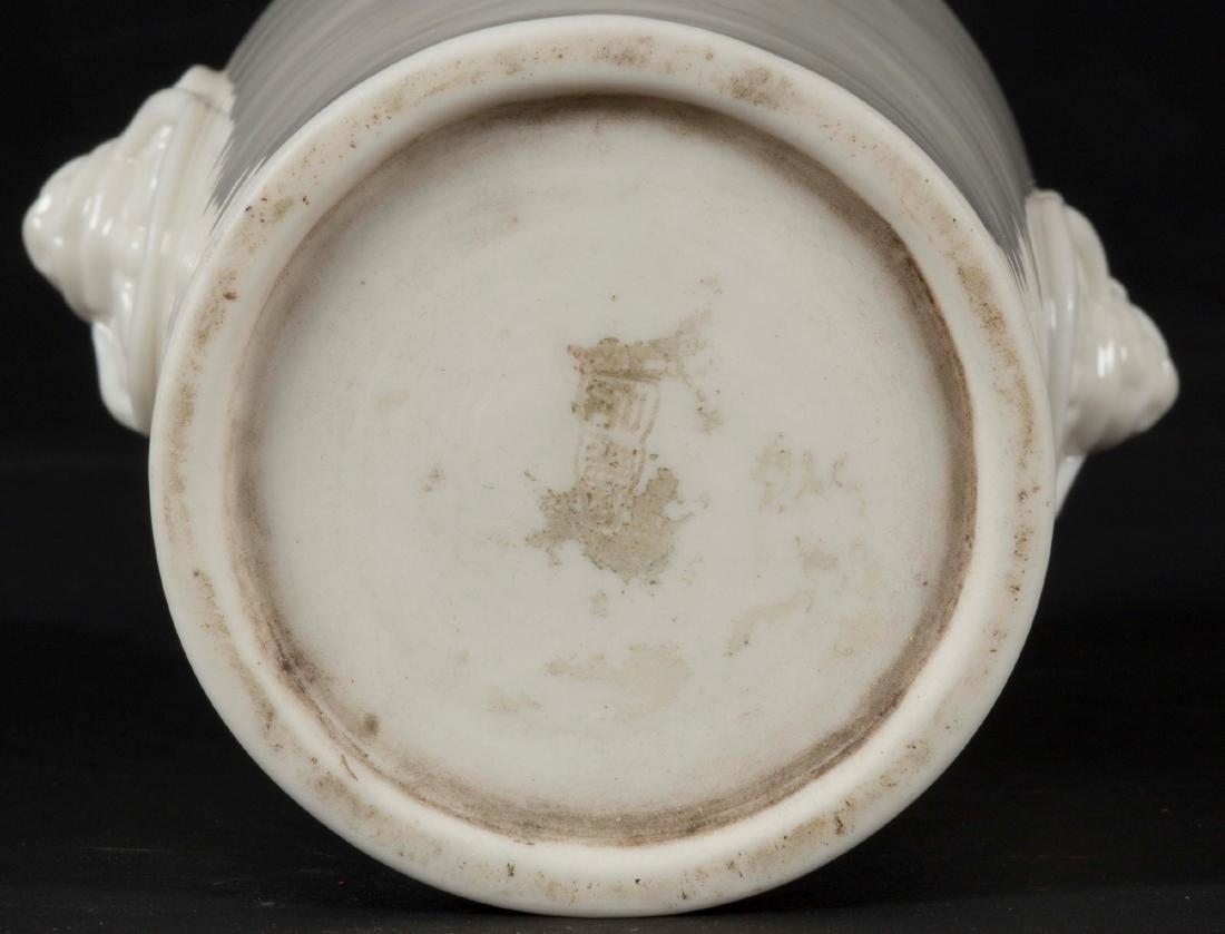 A Blanc de Chine Dehua vase with mask handles, China, - 3