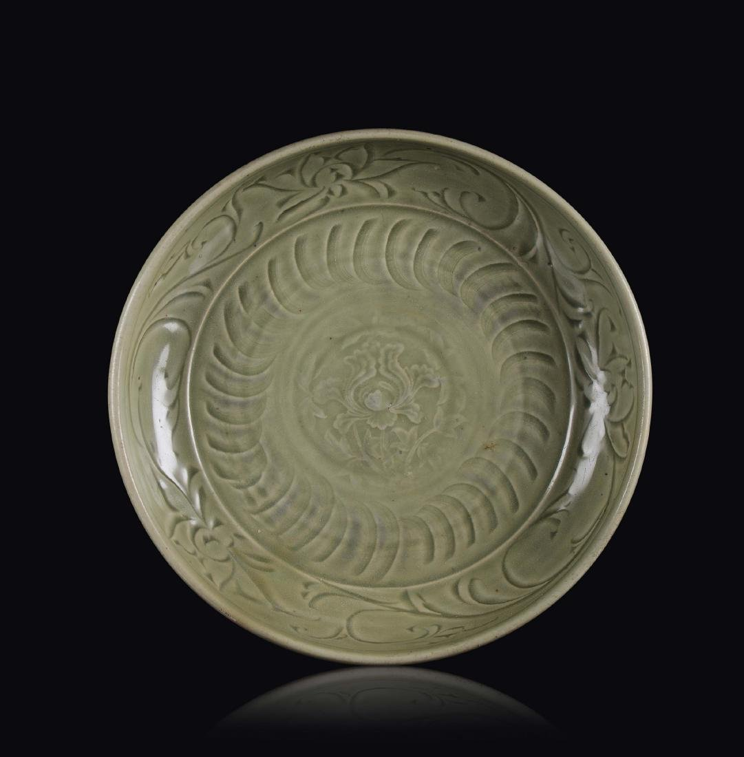A Longquan Celadon dish with lotus flower, China, Yuan