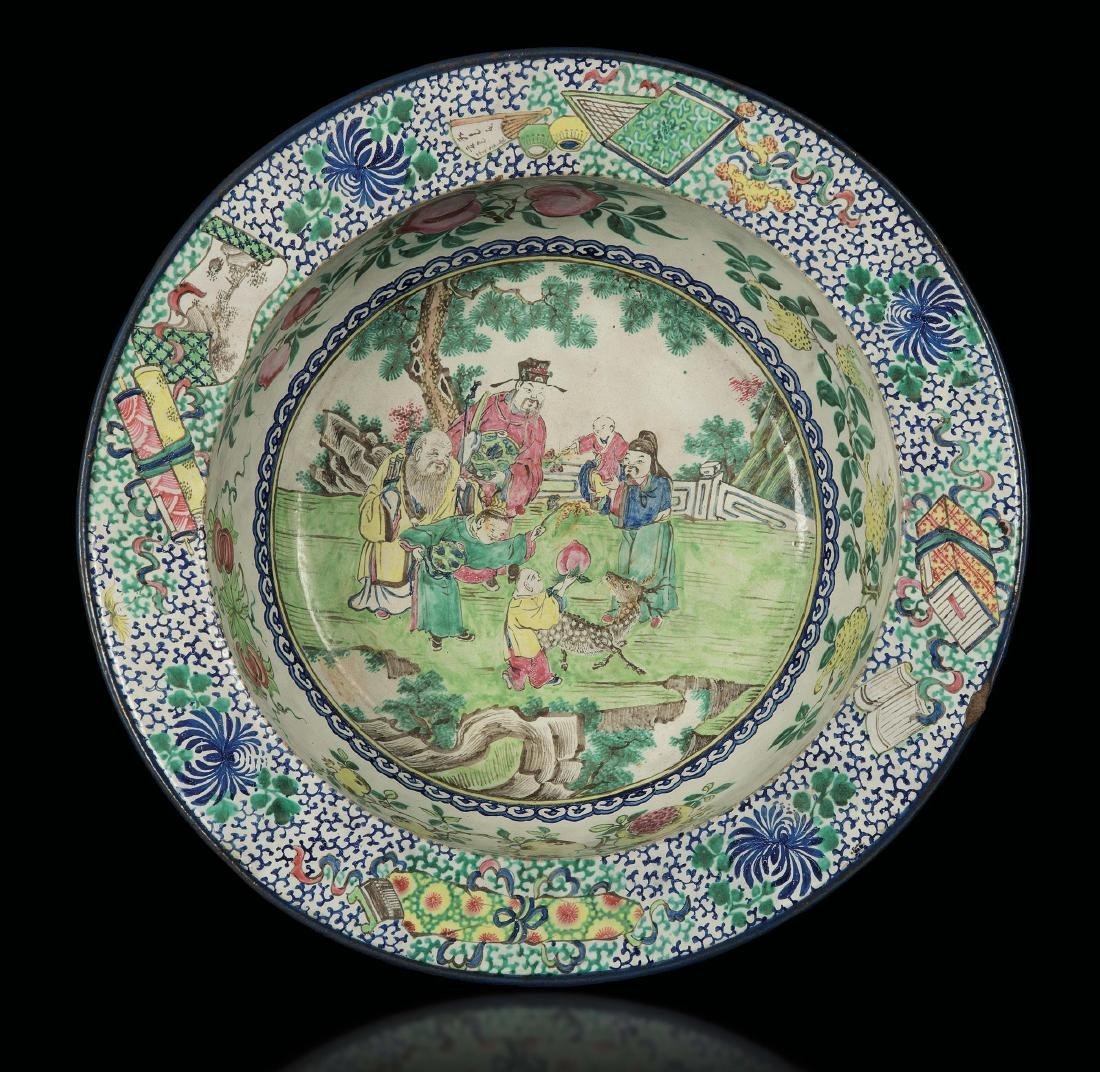 A polychrome enamelled Yixing bowl with wise men and