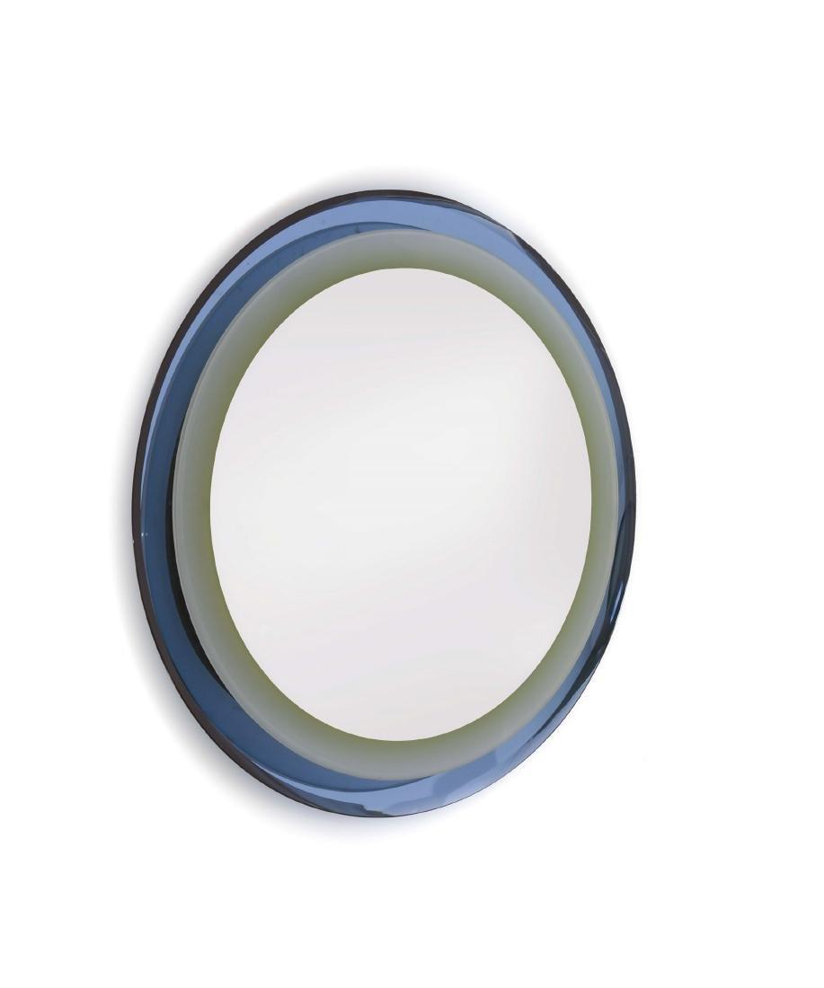 Specchio retroilluminato con cornice in vetro colorato