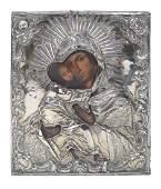 A silver riza icon, Saint Petersburg 1846 marks