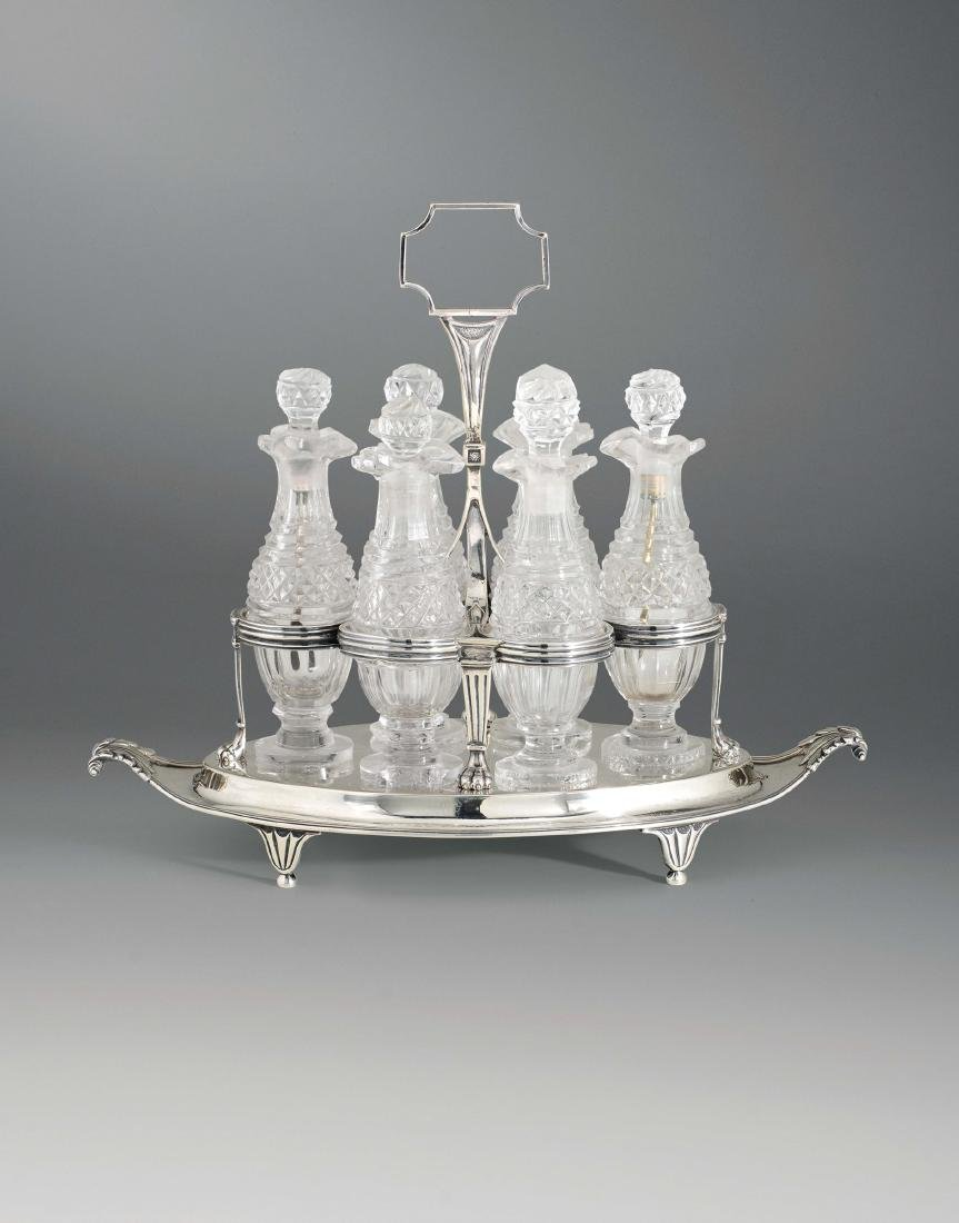 A cruet in silver and glass, silversmith Paul Storr