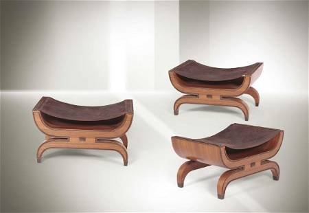 Gio Ponti, three seats with walnut structures, leather