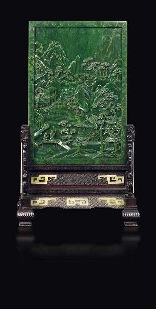 An imperial inscribed spinach-green jade table screen