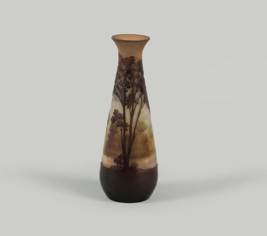 Gallé, France, 1900 ca. A drop-shaped vase in blown