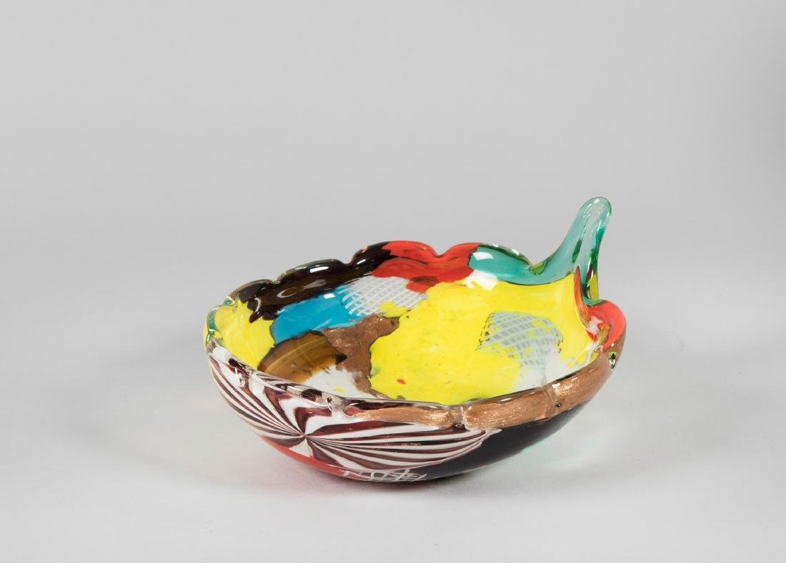 A.V.E.M., Murano, 1960 ca. A leaf-shaped cup with a