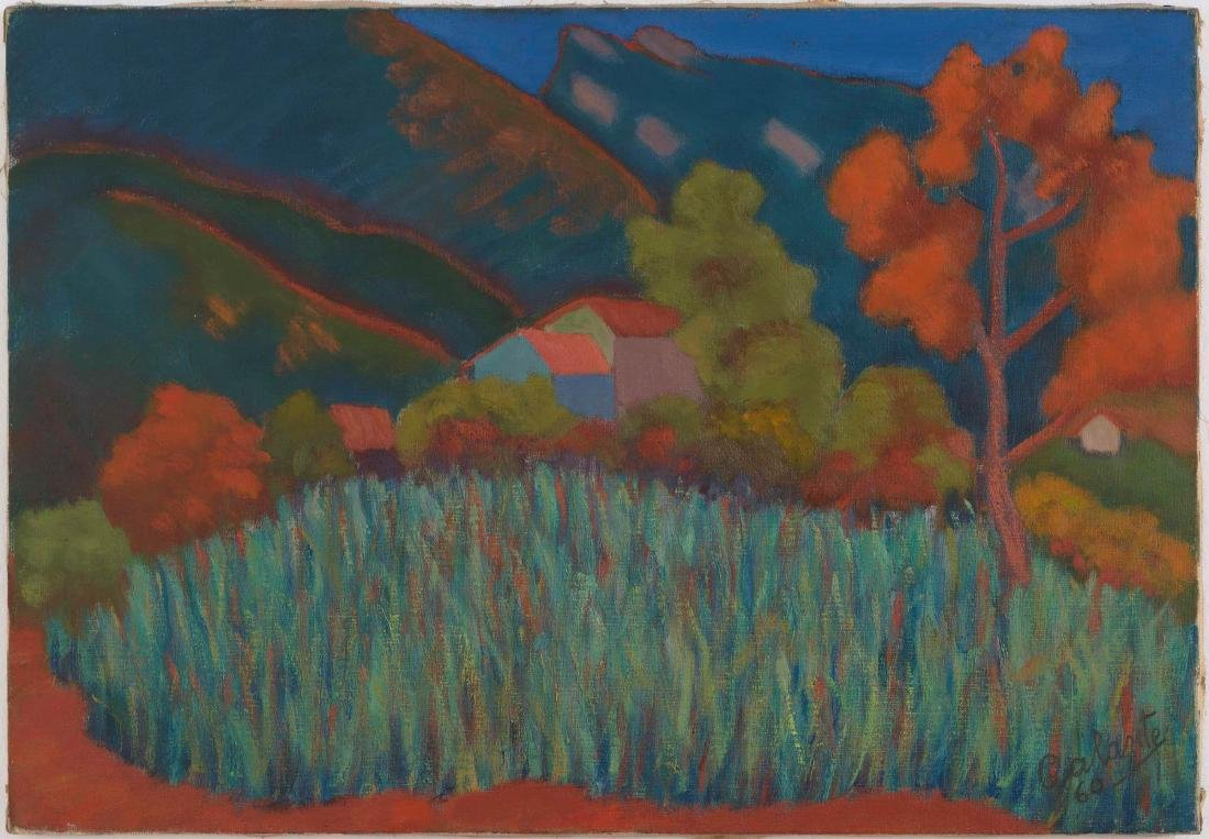 Nicola Galante (1883-1969), Field of oat and mountains,