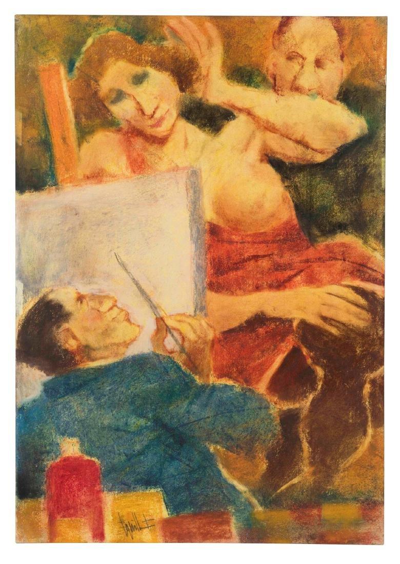 Remo Squillantini (1920-1996), Il pittore e la modella,