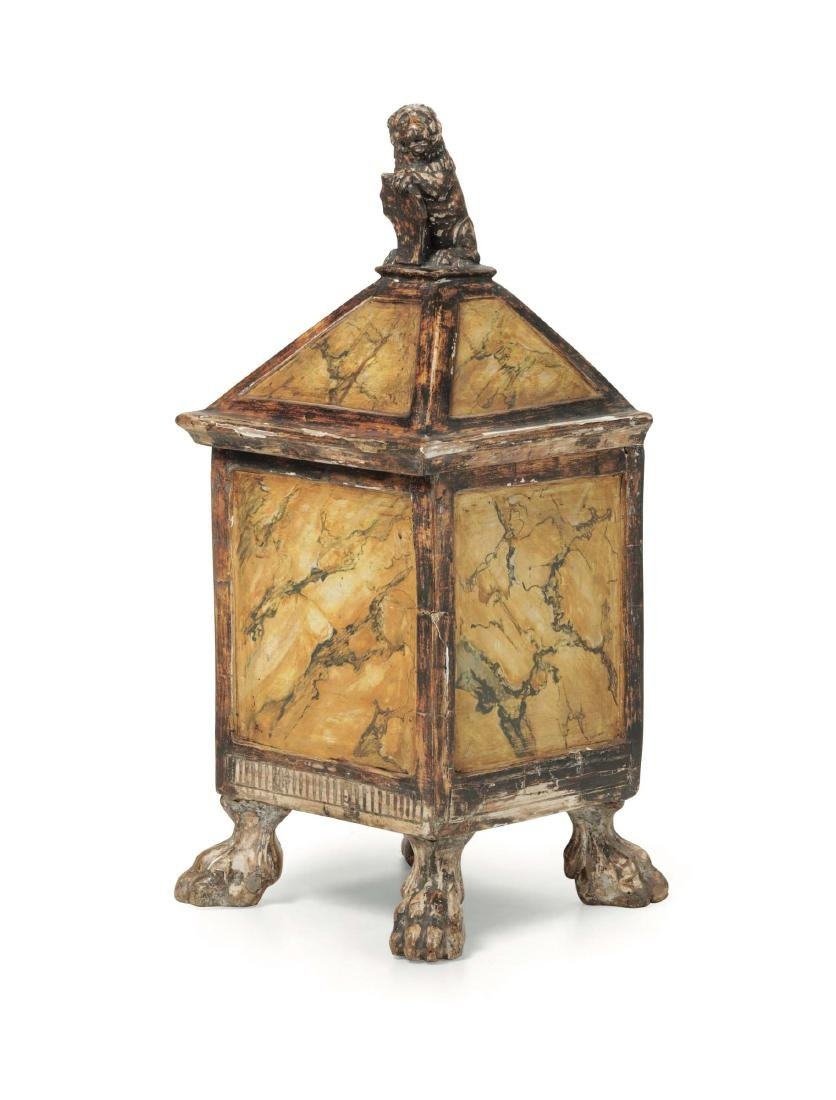 A carved and painted wood box, 18th century