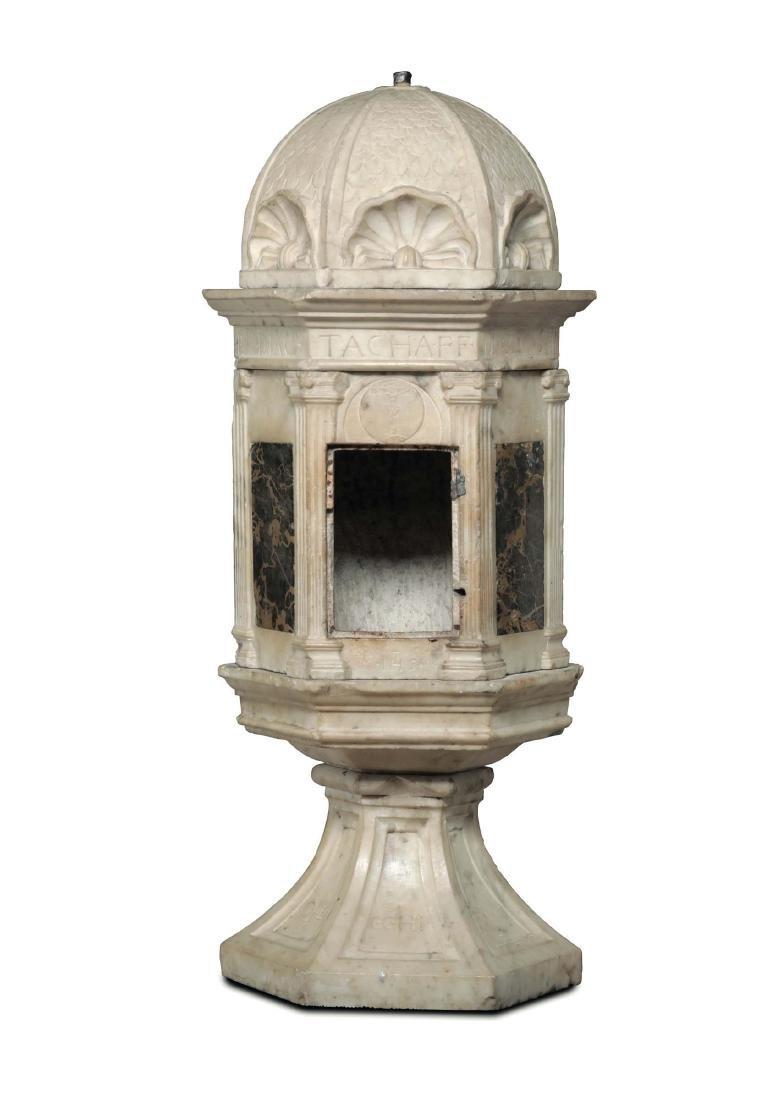 An architectonic ciborium in white marble and portoro