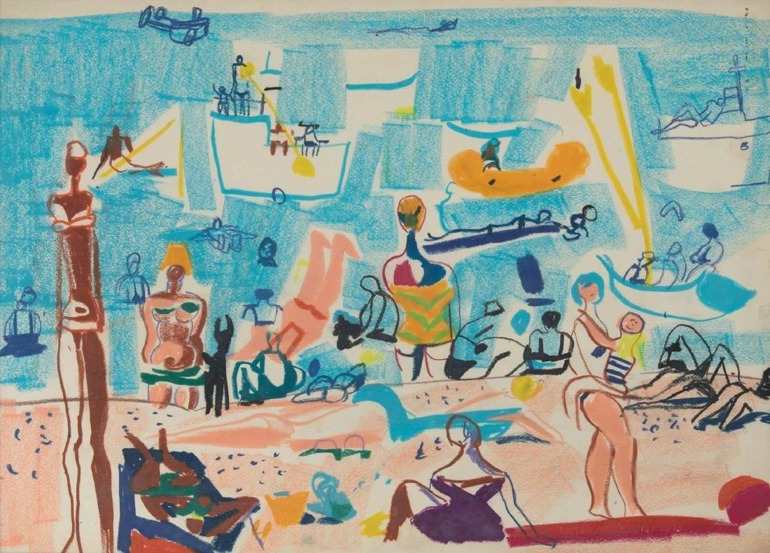 Fulvio Bianconi (1915-1996), Spiaggia con bagnanti