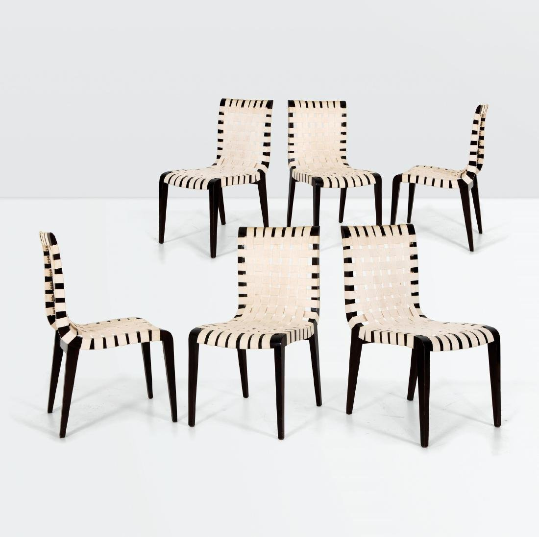 Augusto Romano, six chairs with a wooden structure and