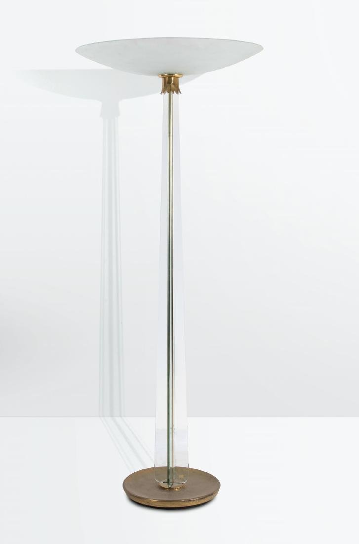 Pietro Chiesa, a floor lamp with a metal and crystal
