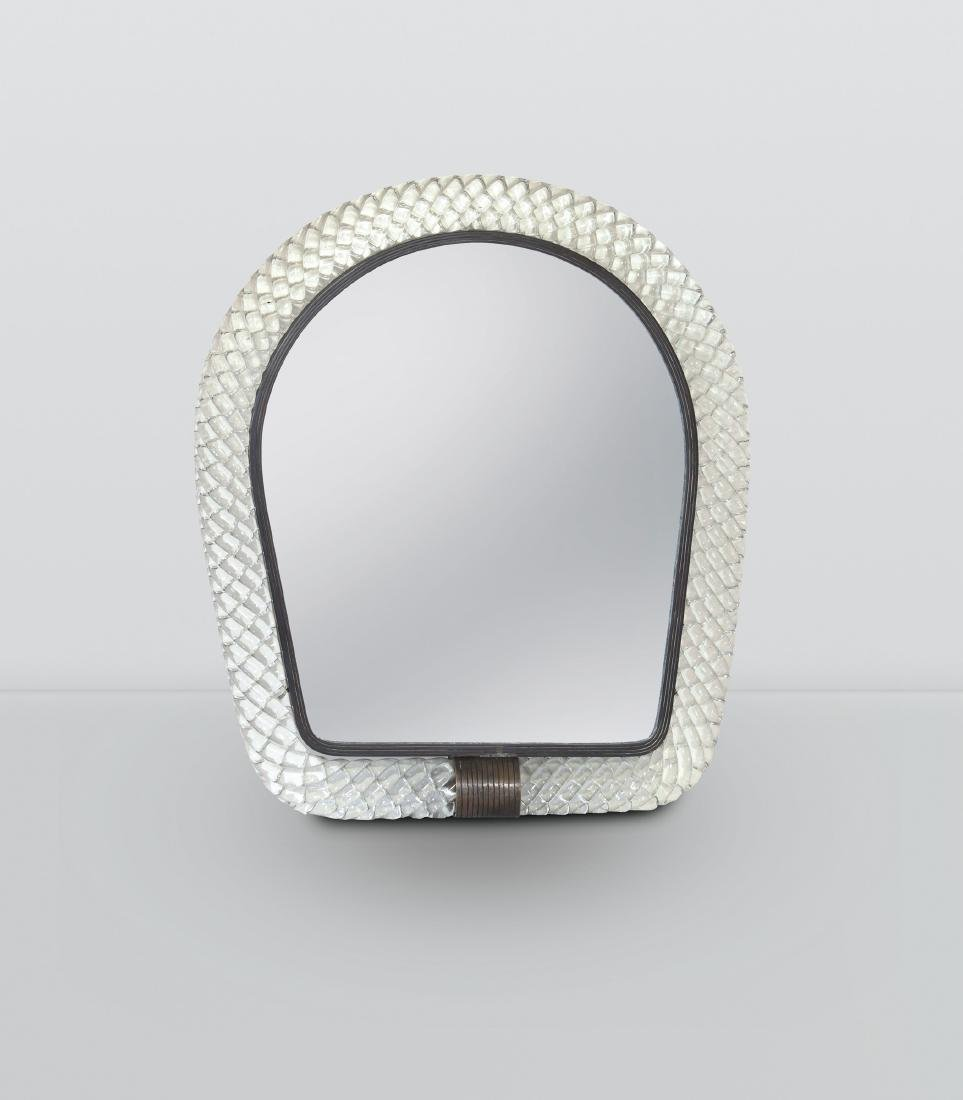 Venini, a mirror with a Torchon glass frame. Brass