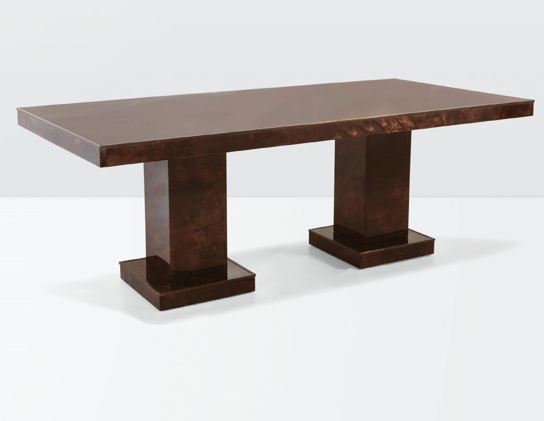 Aldo Tura, a table with a wooden structure, parchment