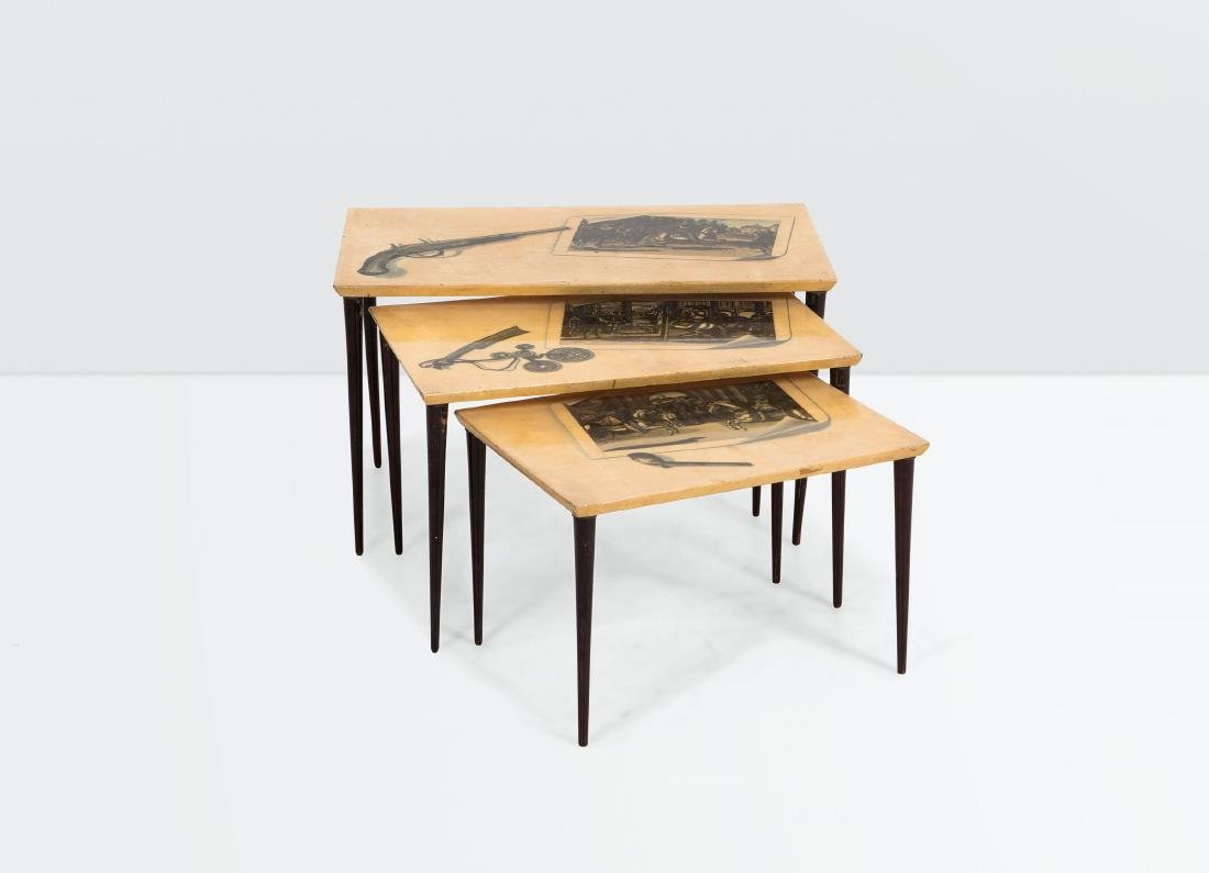 Aldo Tura, a set of three wooden tables with parchment