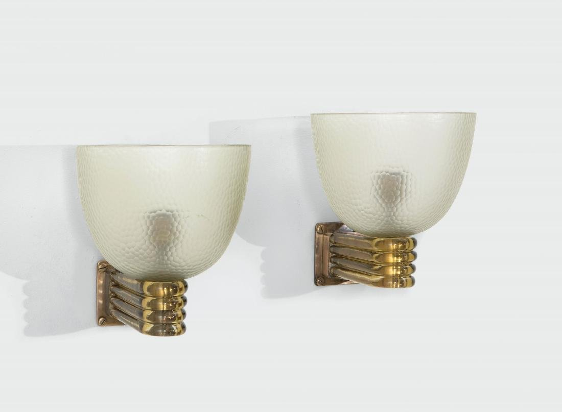 Carlo Scarpa, a pair of wall lamps in Murano glass and