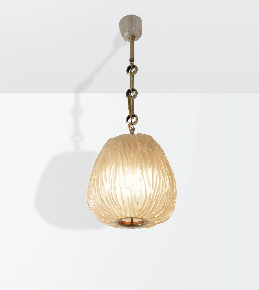 Carlo Scarpa, a pendant lamp with a brass structure and