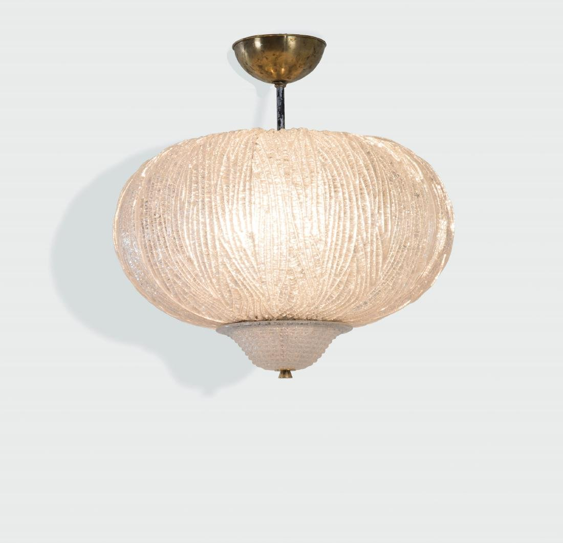 Barovier and Toso, a pendant lamp with a brass