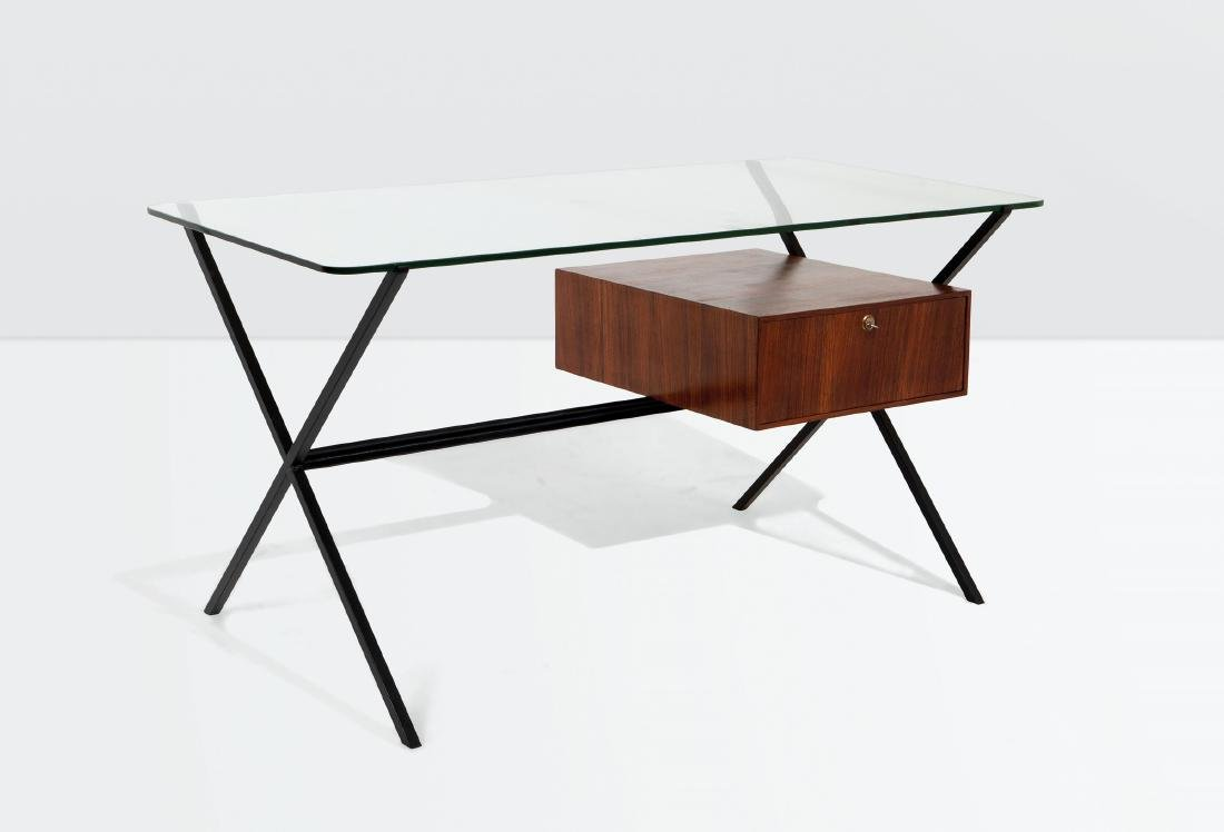 Franco Albini, a desk with a lacquered metal and wood