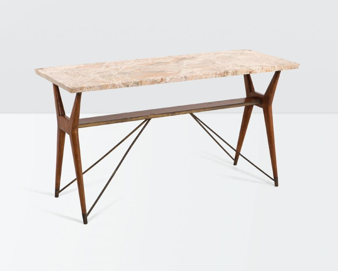 Melchiorre Bega, a console table with a brass and wood