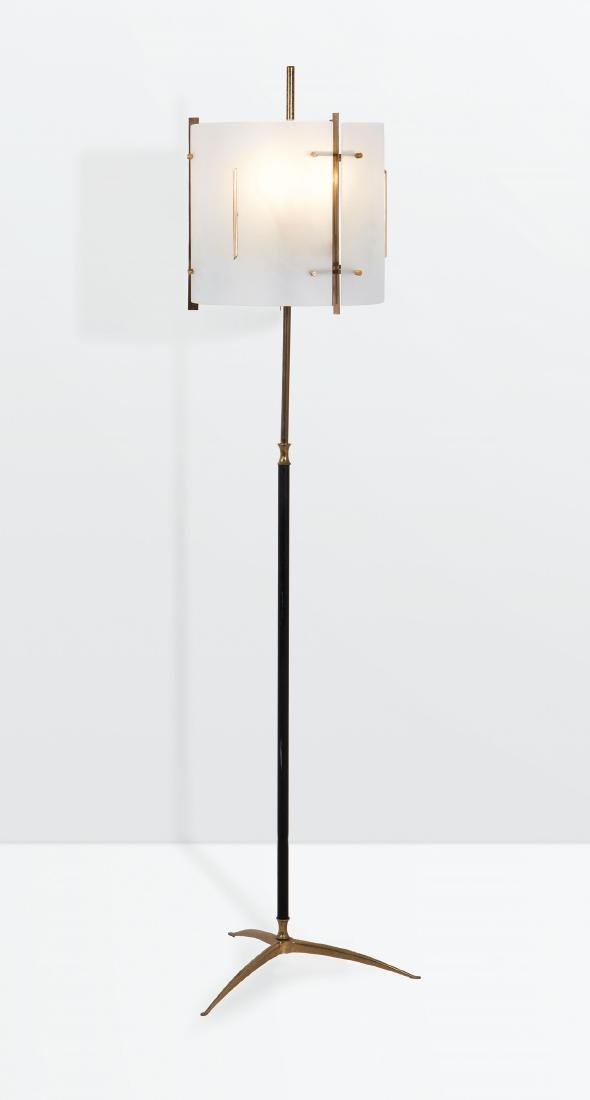 Stilnovo, a floor lamp with a brass and lacquered brass