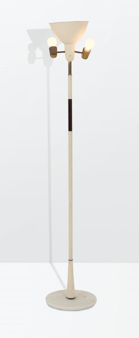 Stilnovo, a floor lamp with a brass and lacquered metal