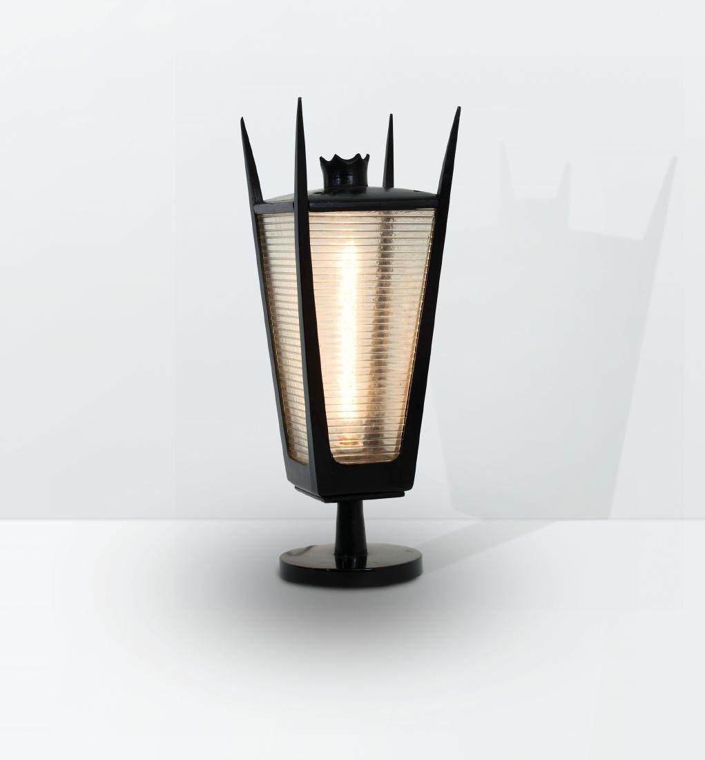 Gino Sarfatti, a rare wooden table lamp with printed