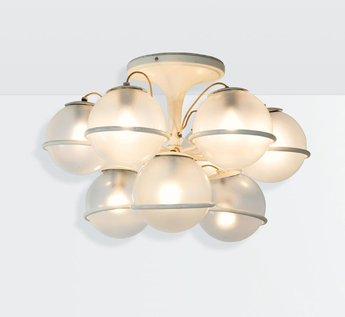 Gino Sarfatti, a mod. 2042/9 ceiling lamp in lacquered