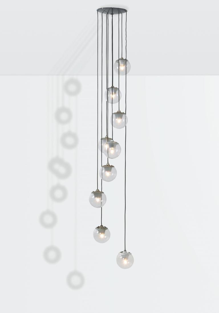 Gino Sarfatti, a mod. 2095/9 ceiling lamp with a metal