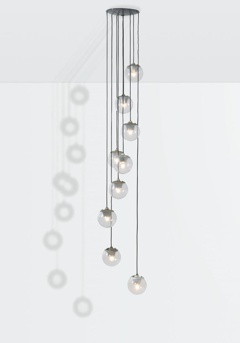 Gino Sarfatti, a mod. 2095/9 ceiling lamp with a metal